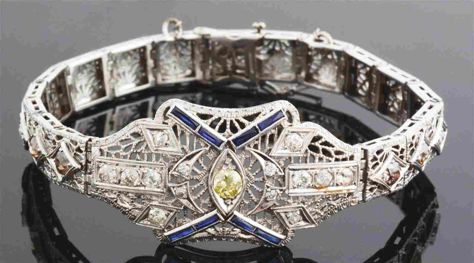 ANTIQUE 14K WHITE GOLD FILIGREE DIAMOND & SAPPHIRE