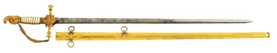 1840-1860 MILITIA STAFF OFFICER'S SWORD.