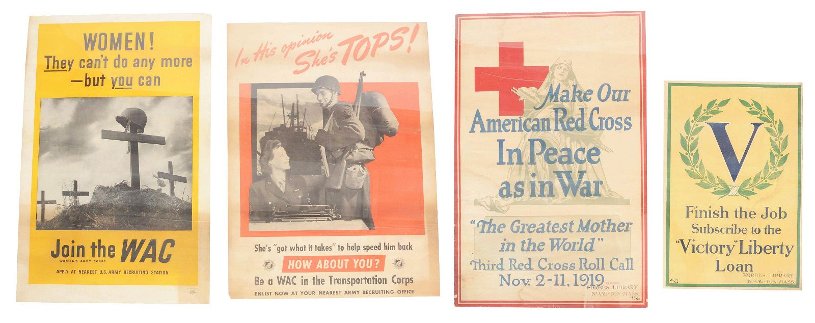 LOT OF 4: US WORLD WAR I AND WORLD WAR II POSTERS.