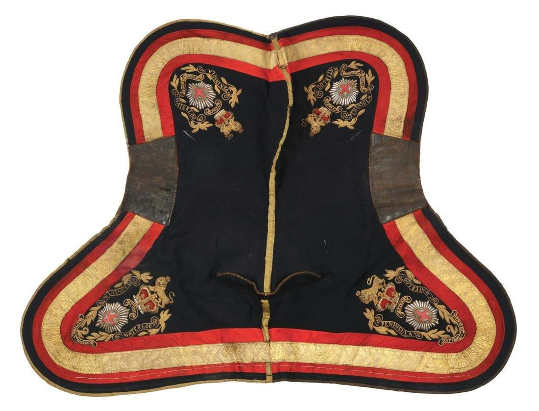LOT OF 3: BRITISH ARMY SHABRAQUE SADDLE CLOTHS.