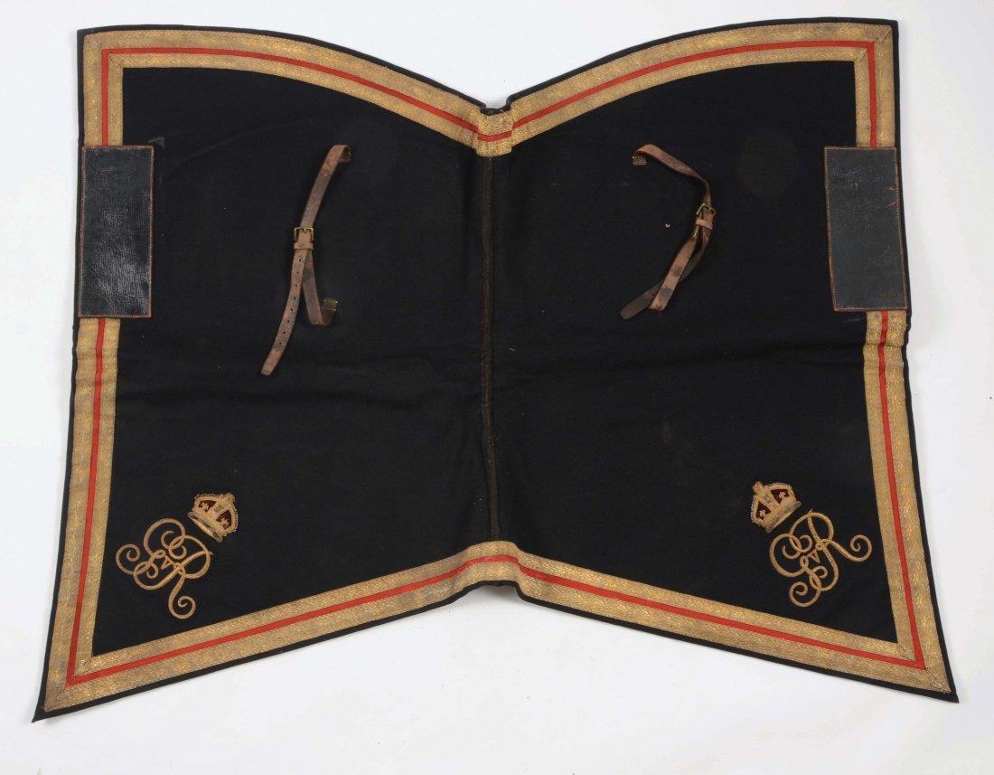 LOT OF 4: BRITISH ARMY SHABRAQUE SADDLE CLOTHS &