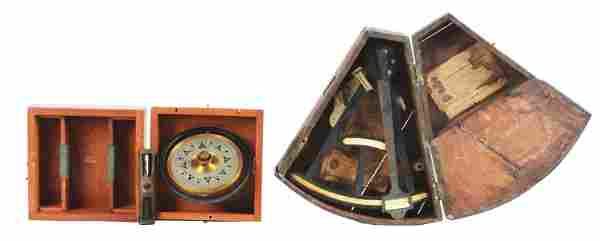 LOT OF 2: NAVY PELORIS AND SEXTANT WITH CASES.