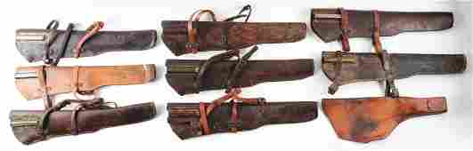 LOT OF 9 US ARMY LEATHER RIFLE SCABBARDS