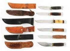 LOT OF 6: VARIOUS MARBLES FIXED BLADE KNIVES.