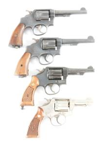 C LOT OF FOUR FOUR SMITH WESSON REVOLVERS