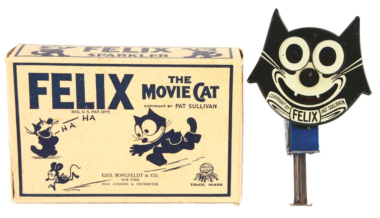 TIN-LITHO FELIX THE CAT SPARKLER TOY WITH ORIGINAL BOX.