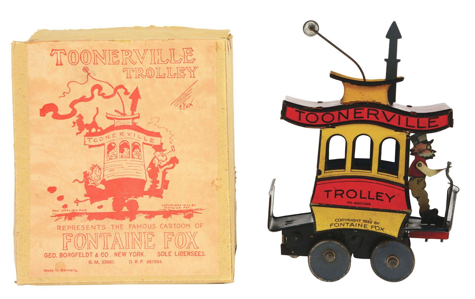 GERMAN NIFTY TIN-LITHO WIND-UP TOONERVILLE TROLLEY WITH