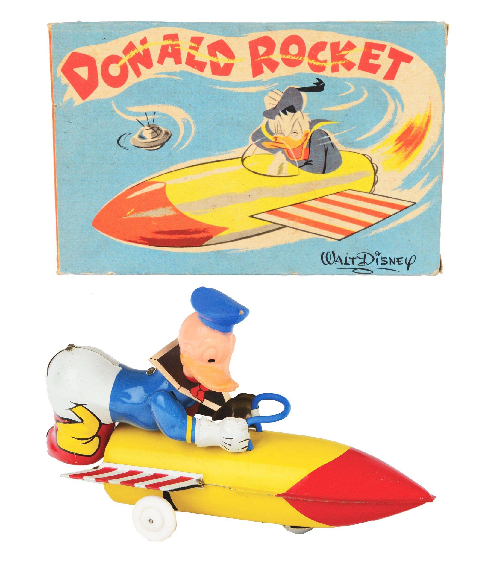 SCARCE TIN-LITHO AND PLASTIC FRENCH MADE DONALD DUCK