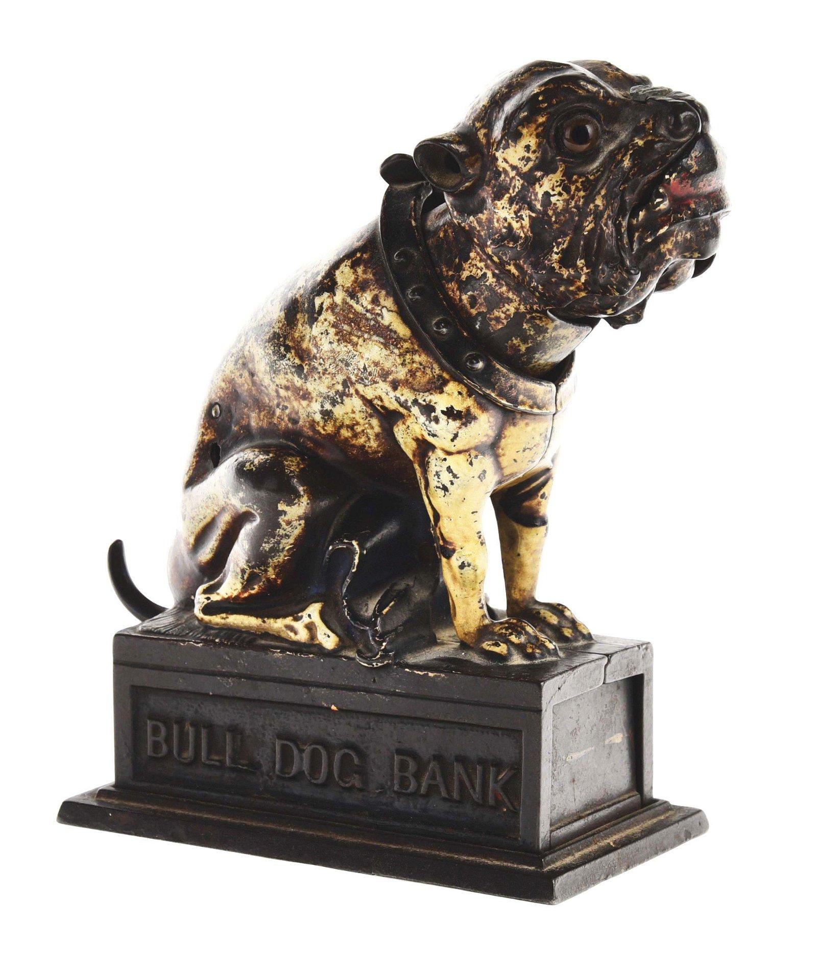 J & E STEVENS BULL DOG CAST IRON MECHANICAL BANK.