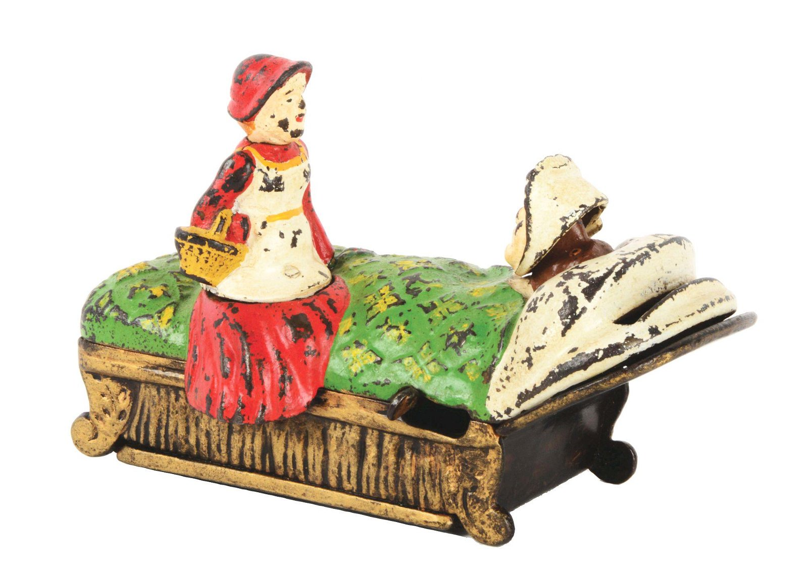 W.S. REED RED RIDING HOOD CAST IRON MECHANICAL BANK.