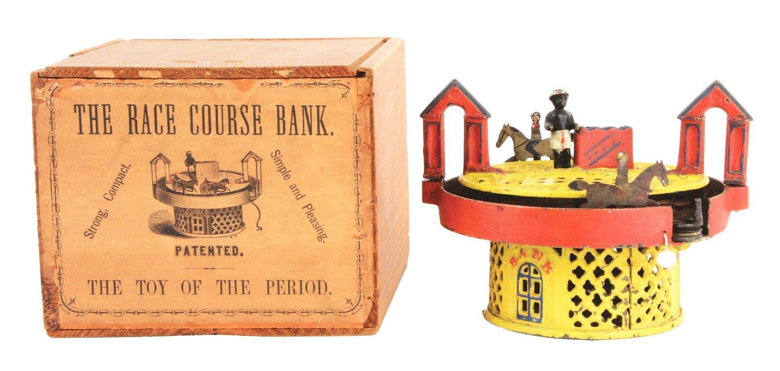 J & E STEVENS HORSE RACE CAST IRON MECHANICAL BANK