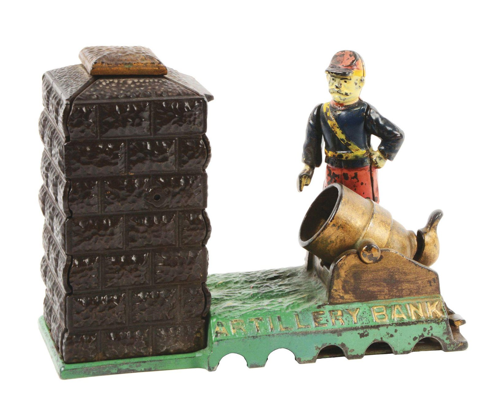 J & E STEVENS ARTILLERY CAST IRON MECHANICAL BANK.