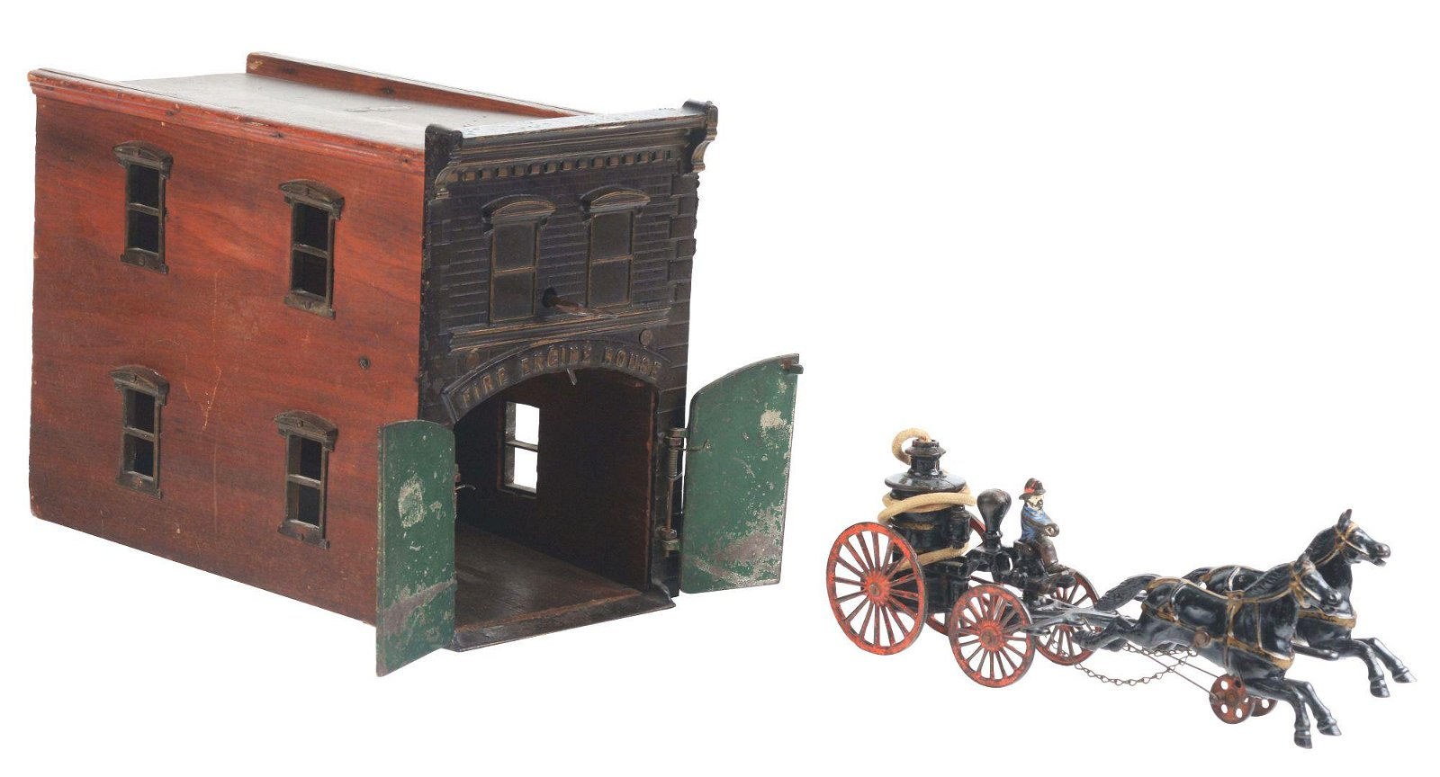 IVES CAST IRON FIREHOUSE WITH PUMPER.