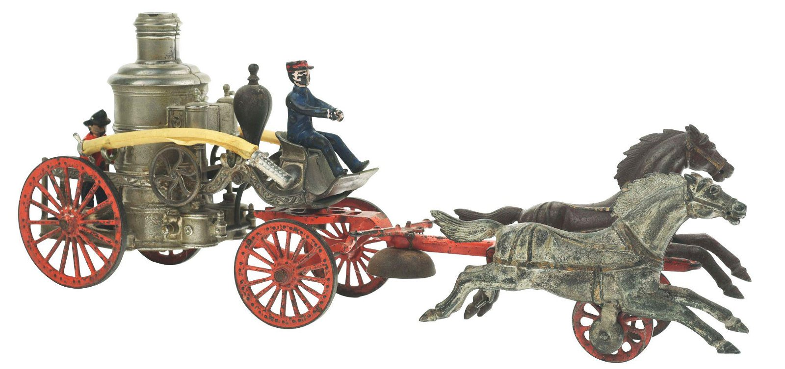 IDEAL TWO HORSE DRAWN CAST IRON PUMPER.