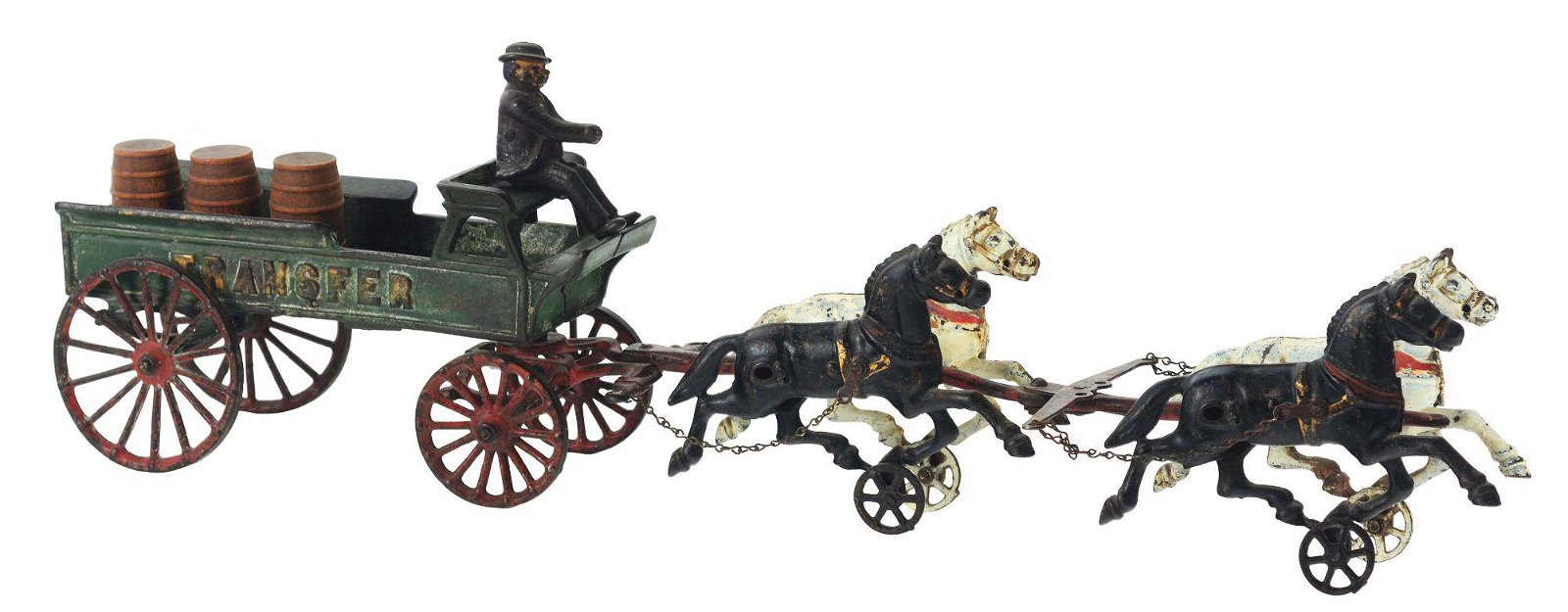 DENT CAST IRON FOUR HORSE DRAWN TRANSFER WAGON.