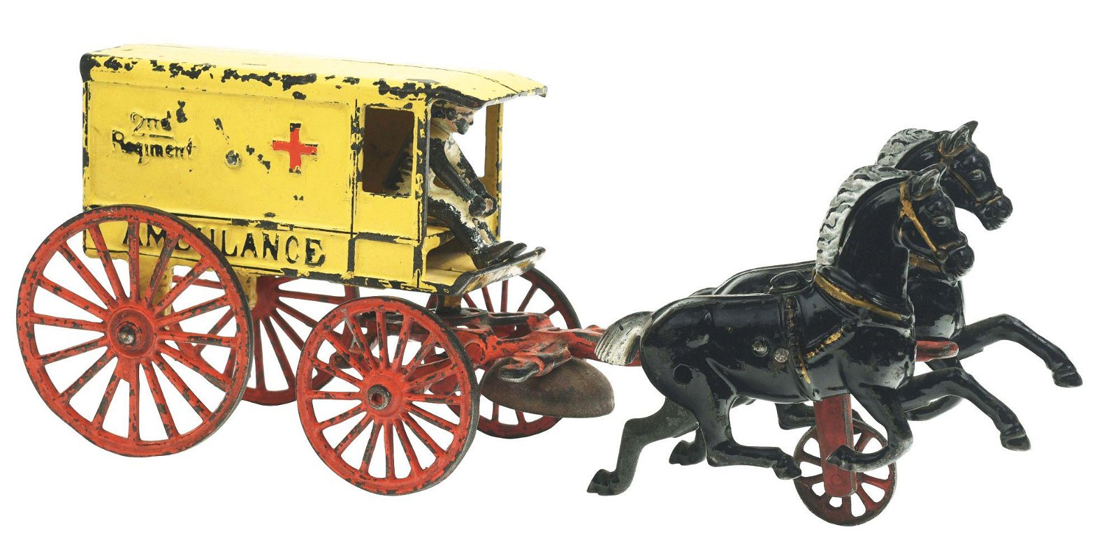 KENTON 2ND REGIMENT CAST IRON HORSE DRAWN AMBULANCE.