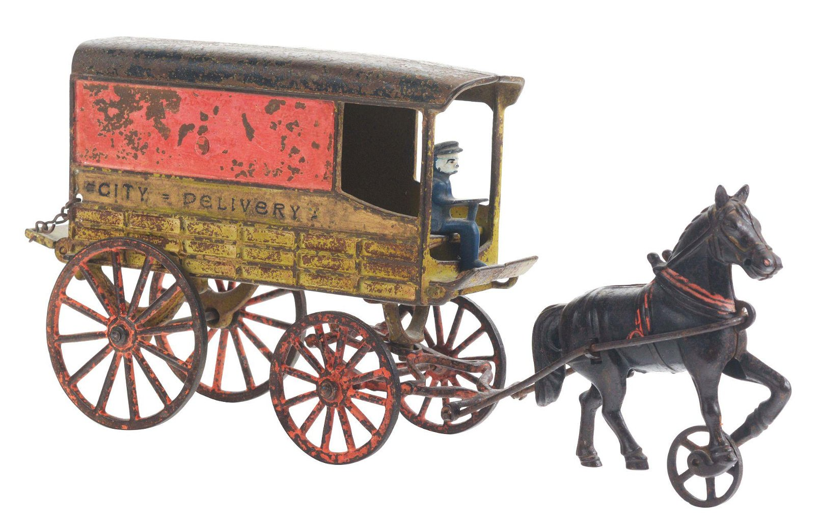 HARRIS ONE HORSE DRAWN CAST IRON CITY DELIVERY WAGON.