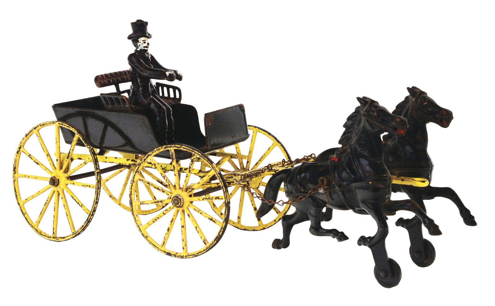 WILKINS CAST IRON TWO HORSE DRAWN ONE SEAT SURREY.