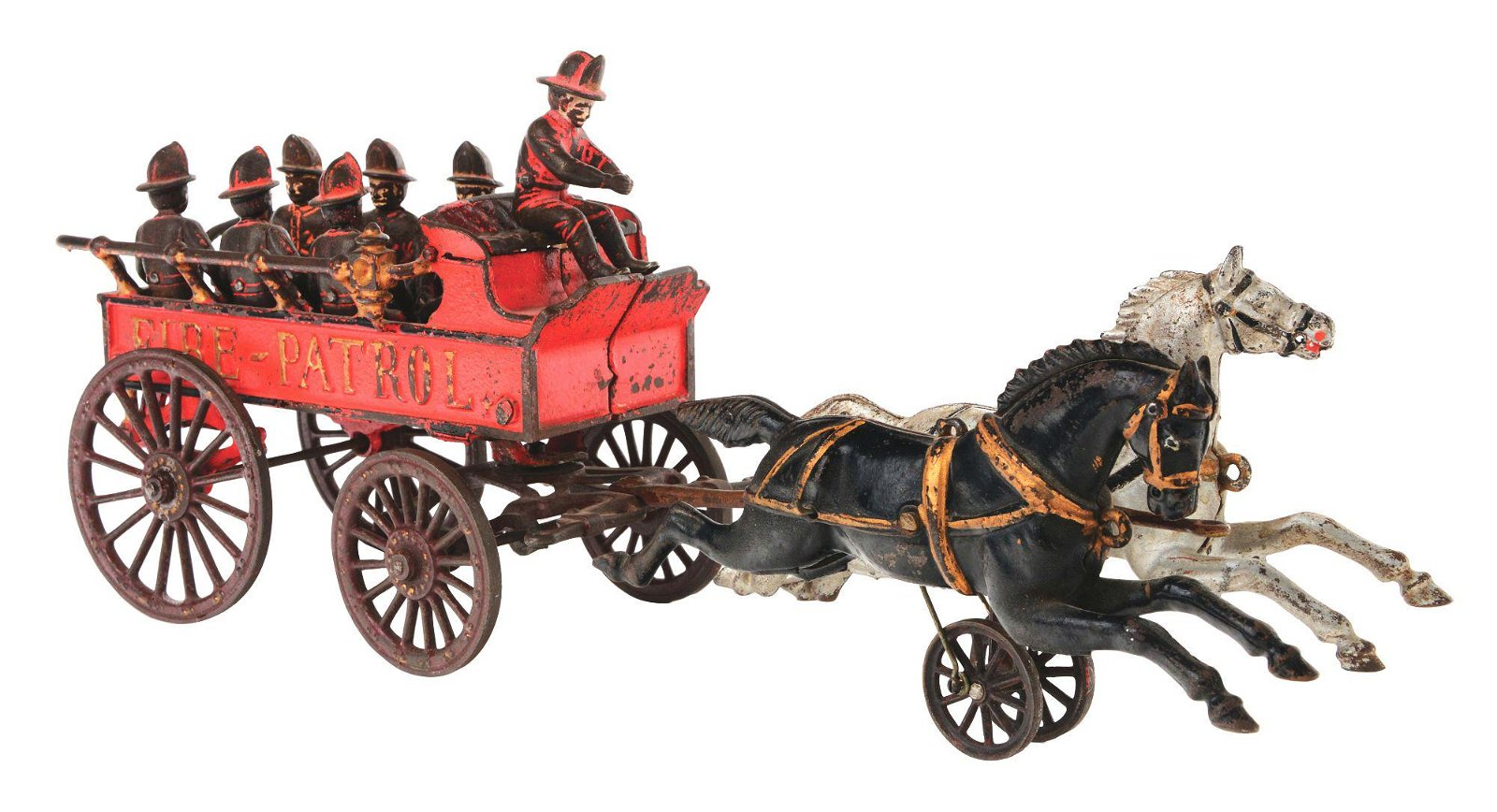 HUBLEY TWO HORSE DRAWN CAST IRON FIRE PATROL.