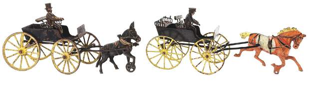 LOT OF 2: EARLY AMERICAN MADE ANIMAL-DRAWN CARTS.