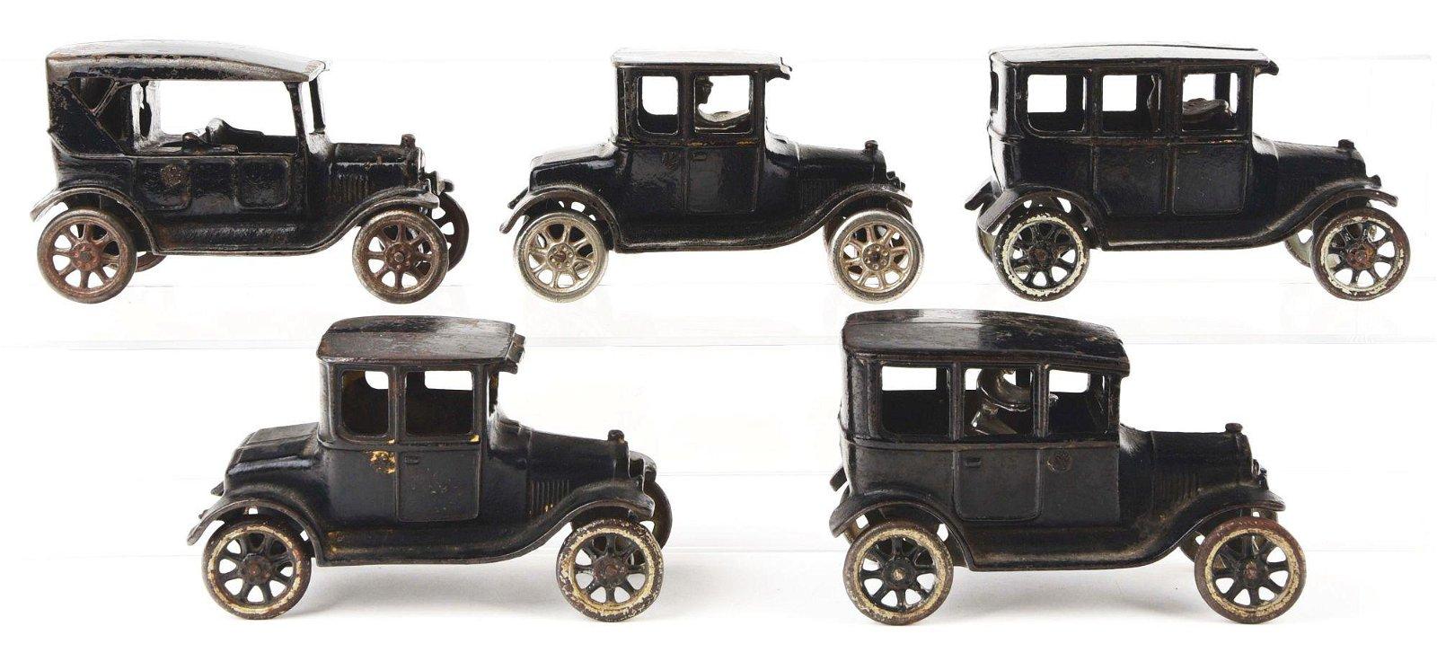LOT OF 5: CAST-IRON ARCADE CARS.
