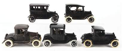 LOT OF 5: CAST-IRON ARCADE CHEVY AND FORD AUTOMOBILE