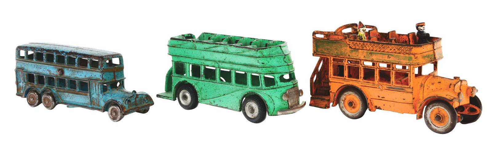 LOT OF THREE CAST IRON BUSES.