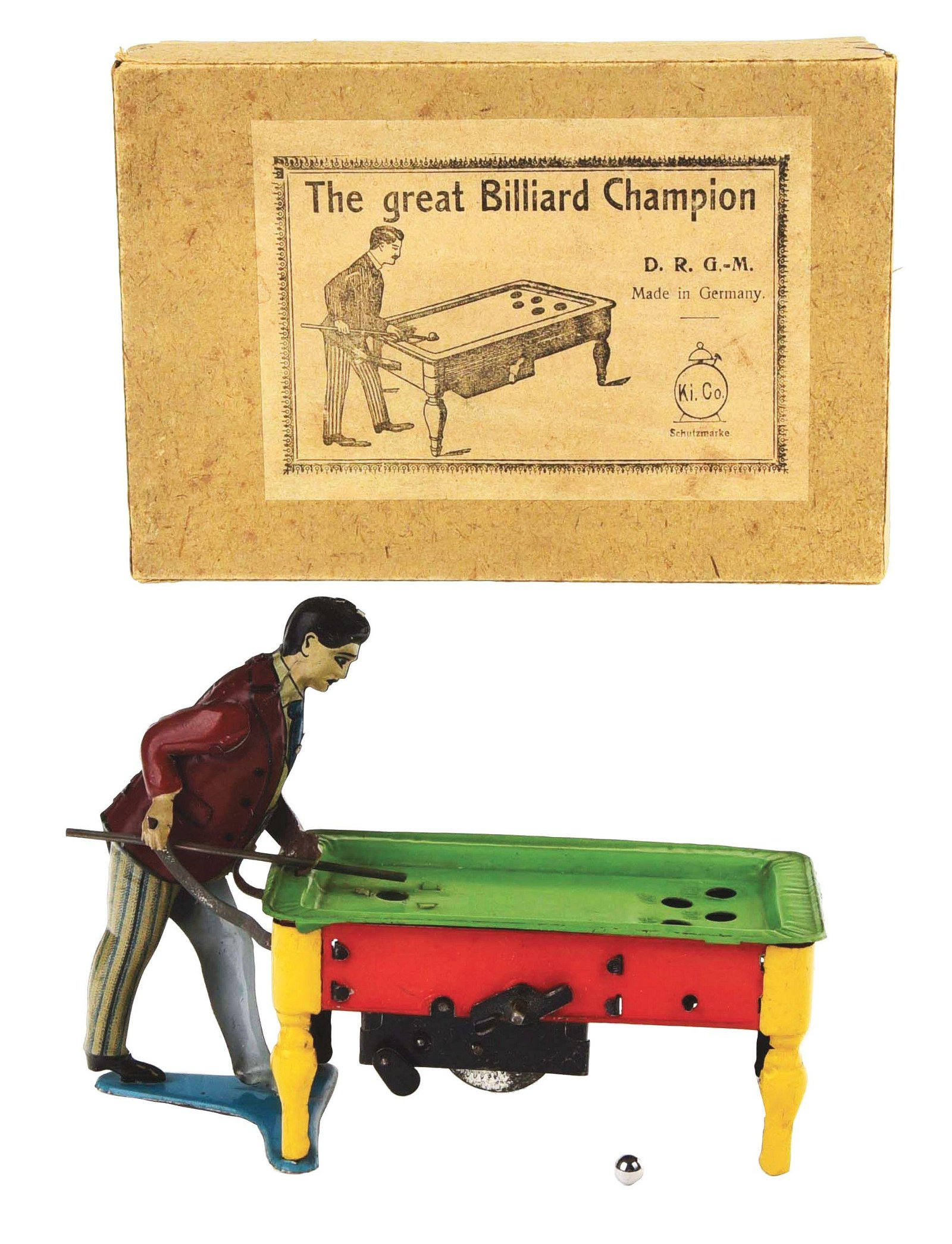 GERMAN TIN-LITHO KICO WIND-UP BILLIARD TOY.