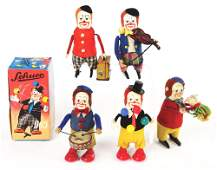LOT OF 5 GERMAN WINDUP SCHUCO FIGURAL CLOWN TOYS