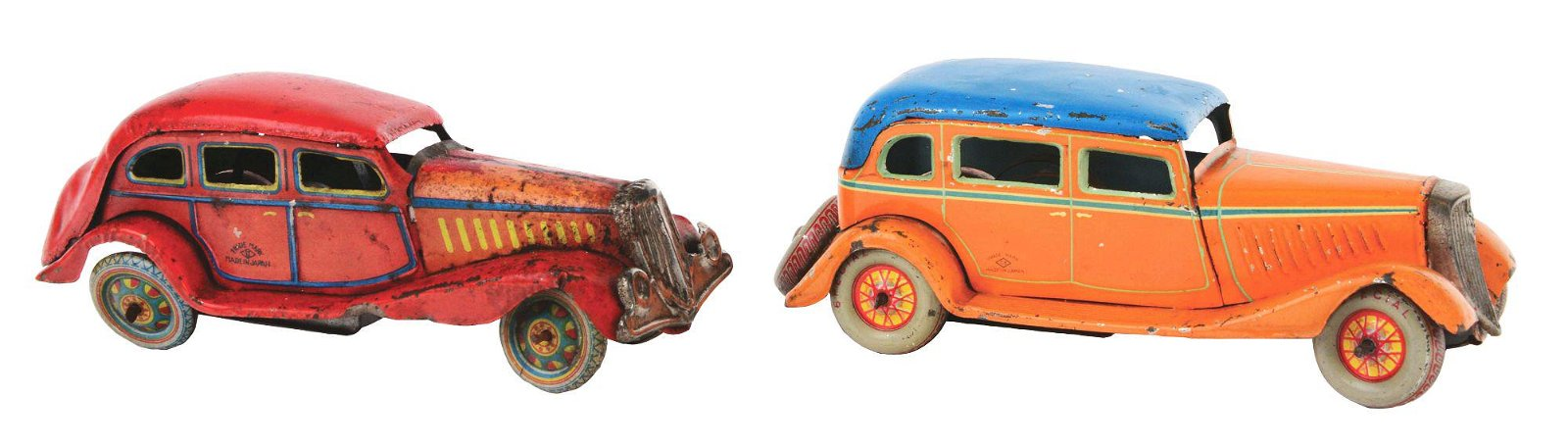 LOT OF 2: PRE-WAR JAPANESE TIN-LITHO WIND-UP AUTOMOBILE