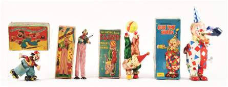 LOT OF 4: JAPANESE TIN WIND-UP CLOWN TOYS IN ORIGINAL