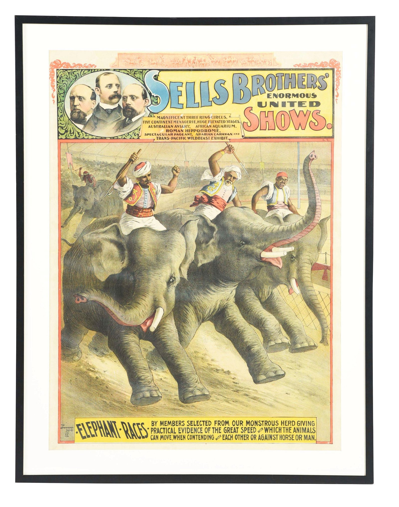 FRAMED SELLS BROTHERS CIRCUS POSTER.