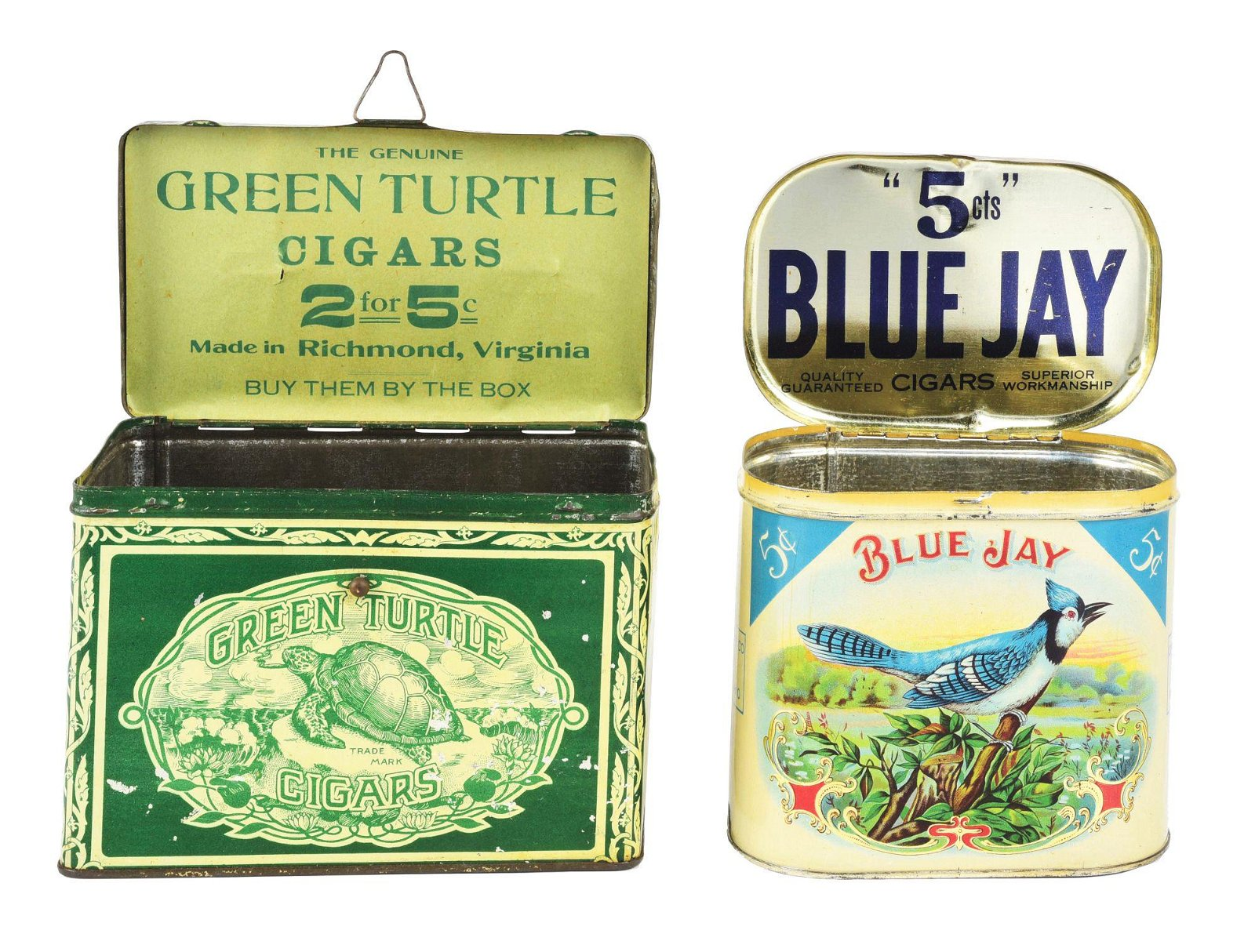 LOT OF 2: GREEN TURTLE AND BLUE JAY CIGAR TINS.