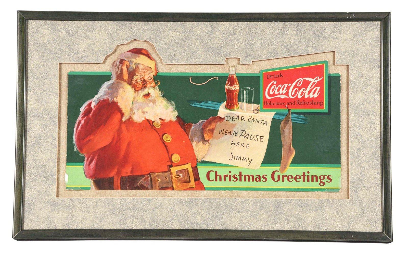 FRAMED COCA-COLA CHRISTMAS GREETINGS AD.