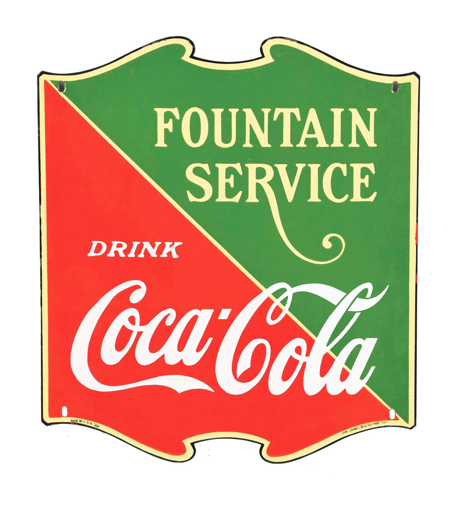 SINGLE-SIDED PORCELAIN COCA-COLA DIE-CUT FOUNTAIN SIGN.