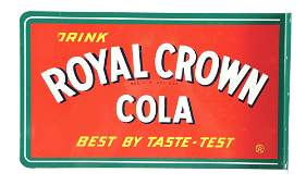 DOUBLE-SIDED TIN FLANGE SIGN FOR ROYAL CROWN COLA.