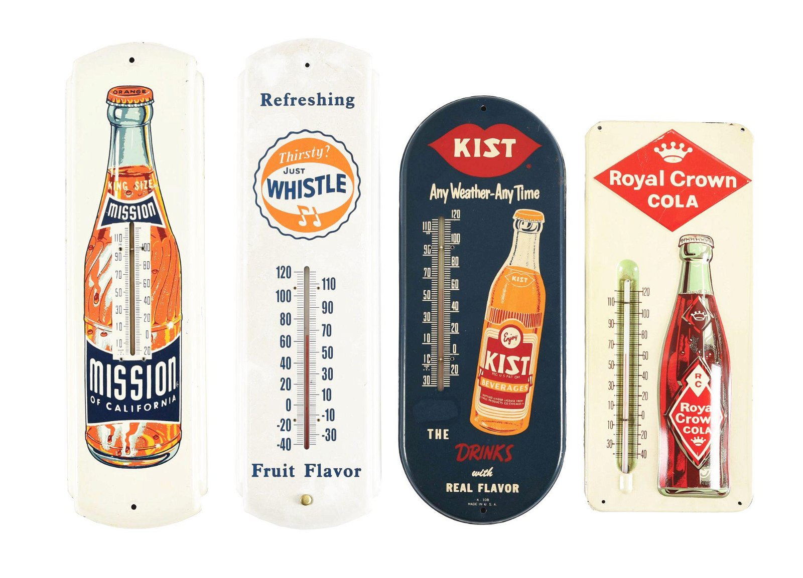 LOT OF 4: SODA THERMOMETERS.