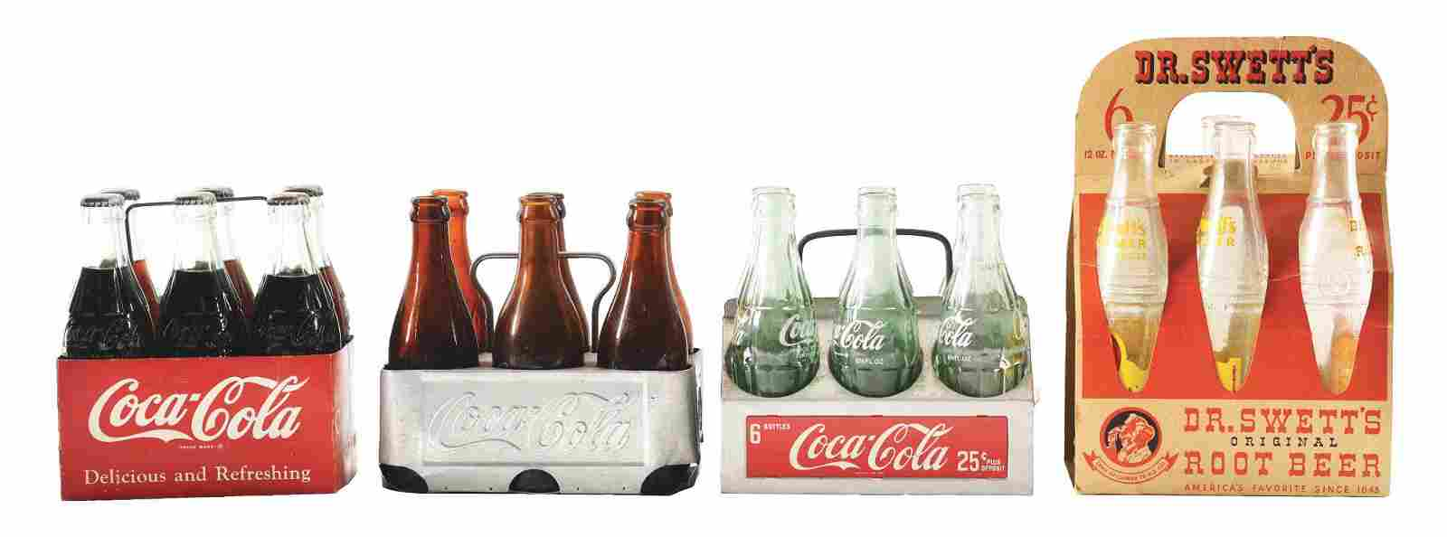 LOT OF 4: COCA-COLA AND DR. SWETT'S BOTTLE CARRIERS