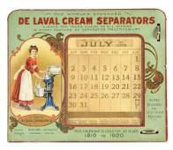 DE LAVAL CREAM SEPARATORS TIN LITHO PERPETUAL CALENDAR.