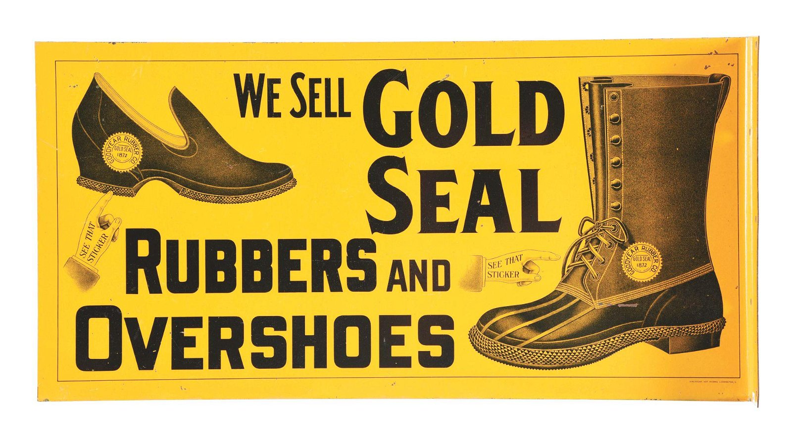 GOLD SEAL RUBBERS AND OVERSHOES FLANGE SIGN.