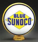"BLUE SUNOCO GASOLINE COMPLETE 15"" GLOBE ON ORIGINAL"