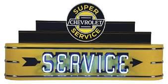 CHEVROLET SUPER SERVICE METAL NEON FANTASY SIGN.