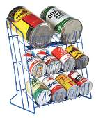 METAL MOTOR OIL CAN RACK W/ ONE & FIVE QUART CANS.