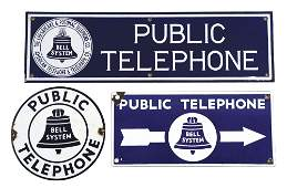 LOT OF THREE: PORCELAIN PUBLIC TELEPHONE SIGNS.