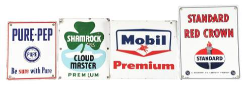 LOT OF 4: PORCELAIN PUMP SIGNS FROM STANDARD OIL,