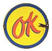 OK USED CARS PORCELAIN DEALERSHIP SIGN.