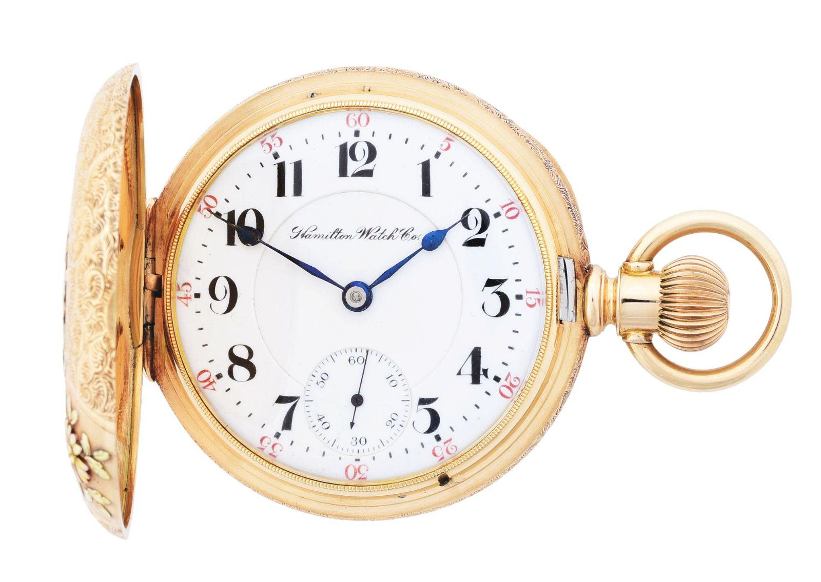 14K GOLD HAMILTON 943 MULTICOLOR H/C POCKET WATCH