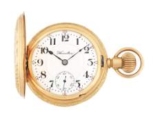 14K GOLD HAMILTON 927 H/C POCKET WATCH CIRCA 1908.