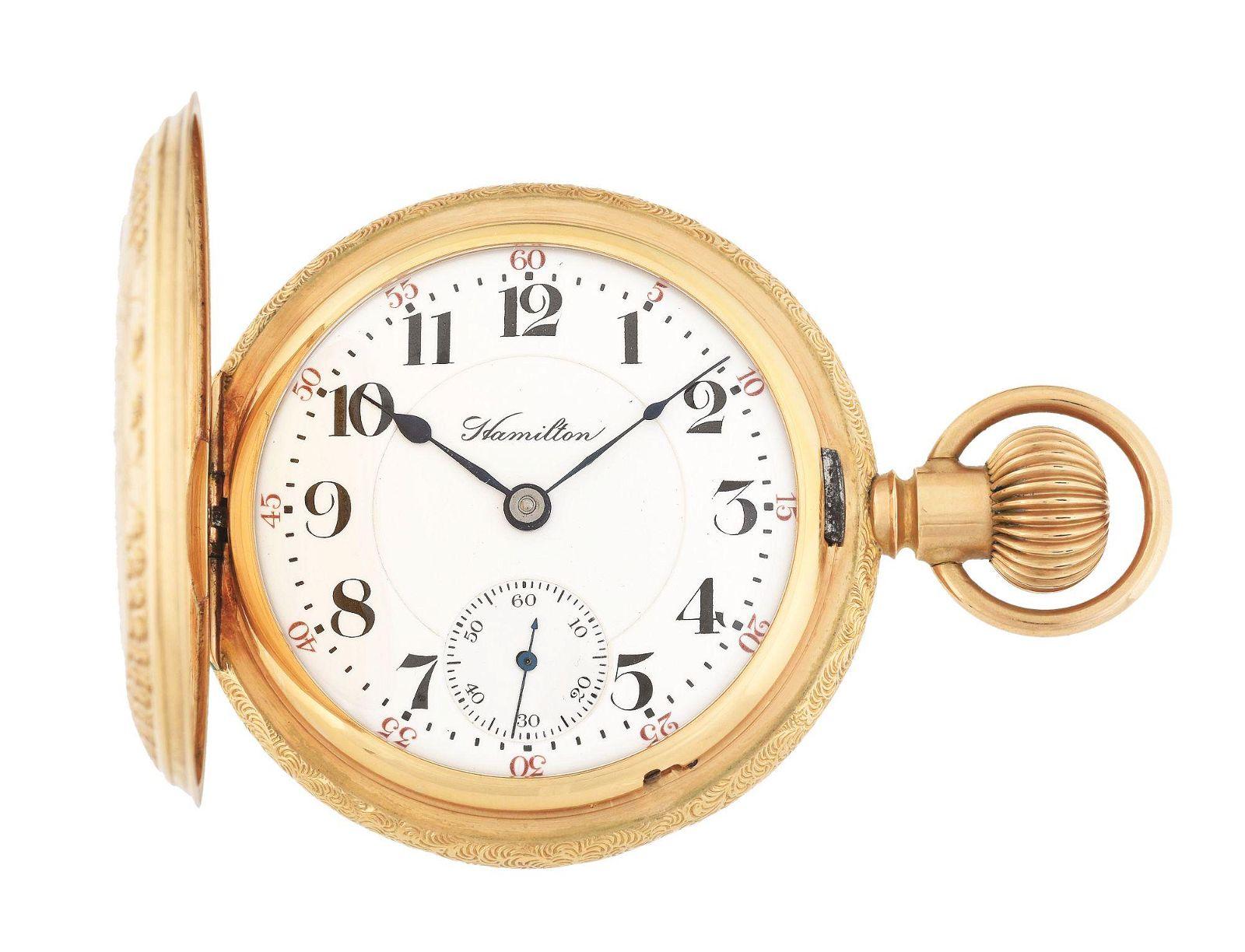 14K GOLD HAMILTON 927 H/C POCKET WATCH CIRCA 1908.
