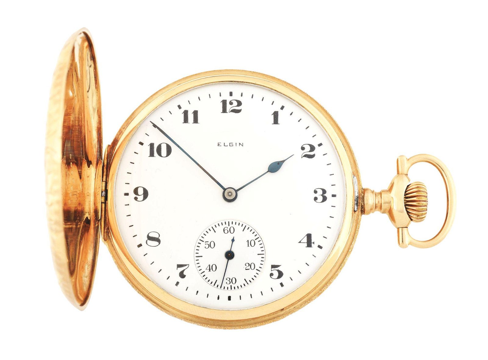 14K GOLD ELGIN 386 H/C POCKET WATCH CIRCA 1923.